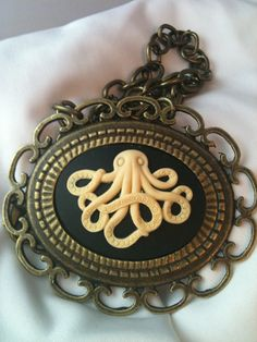 Large Octopus Cameo in Antiqued Brass Setting by KandKartistry, $13.00