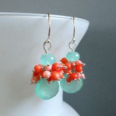 Aqua Chalcedony and Coral Cluster Sterling Earrings by SurfAndSand, $74.00