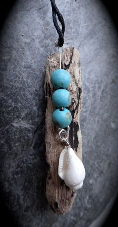 Sea Gypsy Driftwood Turquoise Bead and Shell Natural Pendant Necklace