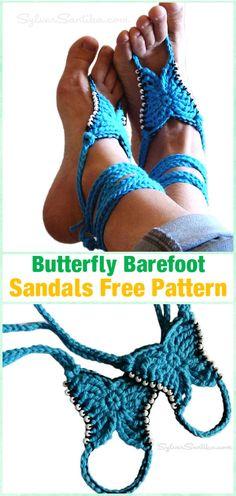 Crochet Beaded Butterfly Barefoot Sandals Free Pattern - Crochet Women Barefoot Sandal Anklets Free Patterns