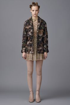 Valentino Pre-Fall 2016 - Look 26 - Star pattern camo jacket with sheer silver star net dress and thigh-high suede boots