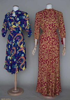 "TWO PRINT DRESSES, 1930-1940 1 1930s yellow hostess dress in gauze wool, fuchsia vine & leaf print, B 38"", W 28"", L 58""; 1 1940s ""Lekani Honolulu"" sun dress, cobalt rayon w/ colorful dragon & Chinese symbol print, matching dolman sleeve bolero, B 34"", W 25"", L 42"", both excellent. FIDM"