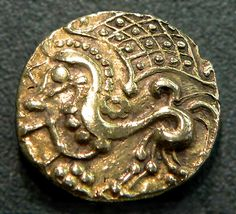 Gold coin of the Parisii tribe of ancient Gaul, 100-50 BC. Currently located at the Cabinet des Médailles, France.