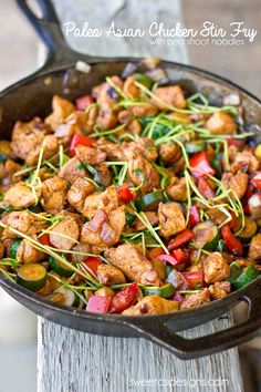 Paleo Asian Chicken Stir Fry- this is super easy to make, delicious, and has pea shoot noodles!