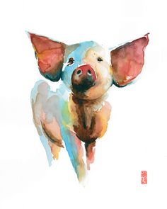 Your place to buy and sell all things handmade Watercolor Animals, Watercolor Paintings, Year Of The Pig, Chinese Zodiac, Expecting Baby, Chinese New Year, Nursery Ideas, Etsy Store, Tarot