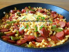 TSLCSmokedSausagepeppersPasta1 - I will use only 1/2 green pepper and Rotel instead of chili peppers, as hubby doesn't care for highly spiced food