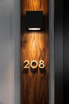 Hotel Signage, Wayfinding Signage, Signage Design, Door Design, Wall Design, House Design, Lobby Interior, Interior Trim, Door Number Plates