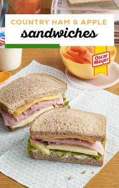 Country Ham & Apple Sandwiches – This unique sandwich recipe has it all—wheat bread, KRAFT Singles, ham, lettuce, and even apple slices! Save this recipe for some tasty lunch packing inspiration. Sandwiches For Lunch, Soup And Sandwich, Sandwich Recipes, Lunch Recipes, Wrap Sandwiches, Dinner Recipes, Healthy Recipes, Kraft Recipes, Pork Recipes