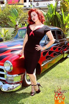 chicken wraps, gia geneviev, vintage cars, pin up art, the dress