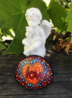 Dot painted stone LOVE