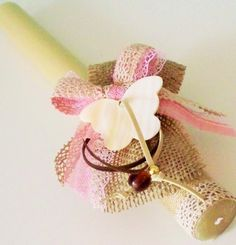 Easter candle(lampada) with vanilla perfume,decorated with pure flax linen textile,lace ribbon and seashell butterfly. Easter Projects, Easter Crafts, Orthodox Easter, Vanilla Perfume, Lace Ribbon, Easter Candle, Crochet Earrings, Wax, Butterfly