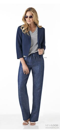 Expand your casual wardrobe with one sewing pattern. Make a knit v-neck top, jacket, pull-on pants and skirt with drawstring waist with New Look sewing pattern 6351.