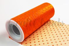 "Glitter Dot Tulle 6"" x 10 Yards - Orange"