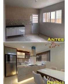Via: , Before and after ! Functional kitchen with LED details! What did you think? Via antes e depois ! Cozinha funcional com. Home Staging, Sweet Home, Functional Kitchen, Diy Décoration, Minimalist Home, Small Apartments, Interior Design Living Room, Home Renovation, Kitchen Decor