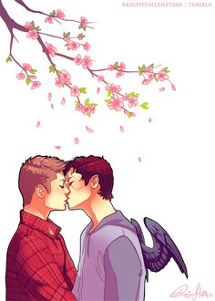 destiel fan art tumblr | brightfallenstars:The drawing I did for my blog sidebar ♥ Spring is ...