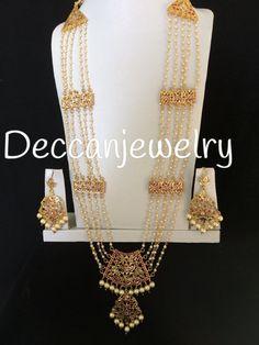 Jewelry OFF! Aabha ruby chandan haar / hyderabadi rani haar with a twist of pearls indian jewellery Jewelry Design Earrings, Gold Jewellery Design, Necklace Designs, Hyderabadi Jewelry, Indian Jewelry, Pakistani Jewelry, Pearl Jewelry, Pakistani Bridal, Beaded Jewelry
