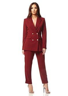 Burgundy Blazer and Trouser Set