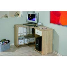 Rohový psací PC stůl CARERA, světlý dub-bílá