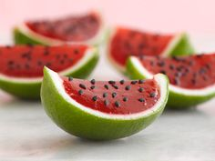 These Petite Watermelons are made with lime rinds and Jello. So cute!
