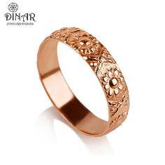 14k Rose Gold flower Wedding Band ring, sunflower wedding ring , vintage women wedding ring, flowers engraving band, botanical texture ring