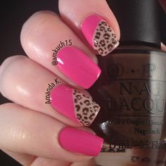 "Orly's ""Basket Case"" with some leopard print! Fabulous Nails, Gorgeous Nails, Pretty Nails, Really Cute Nails, Cute Nail Art, Cute Nail Designs, Acrylic Nail Designs, Hot Nails, Hair And Nails"