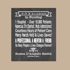 Nurse Retirement Gift Nurse Chalkboard by DaizyBlueDesigns on Etsy Nurse Retirement Gifts, Retirement Quotes,