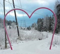 Heart-shaped arc at a footpath in Kuopio, Finland.