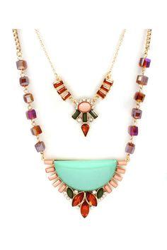 Layered Jocelyn Necklace in Mint
