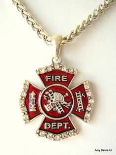 Firefighter Necklace Crystal Bling Gorgeous Chain by AmyDavisArt