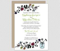 Wedding invitation, by wanderlovepressco on etsy.com