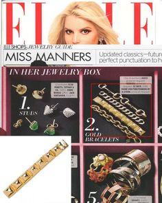 (April 2012) @ELLE Magazine: Stud Hinge Bracelet. Available in gold & silver at CCSkye.com.