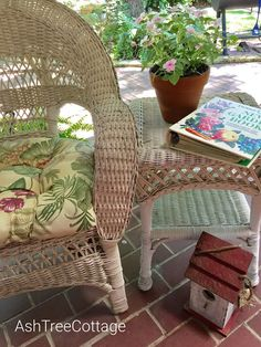 Ash Tree Cottage ~ spring on the porch Cottage Porch, Ash Tree, Wicker, Chair, Spring, Summer, Life, Furniture, Home Decor