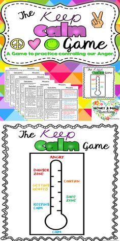The Keep Calm Game for anger management; coping skills, SEL, controlling anger. Students will practice controlling their anger in different scenarios. Students answer questions and try to keep their anger thermometer low by using coping skills instead of anger inducing responses. Great for students who are struggling with anger.