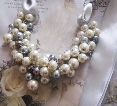 Wedding Jewelry - Ivory and Gray Pearl Necklace with light silver by SLDesignsHBJ