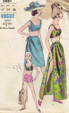 Vogue 5861 Vintage 1960s Fitted Bra Shorts Wrap by PeoplePackages, $38.00
