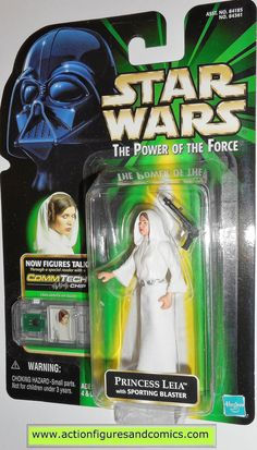 star wars action figures PRINCESS LEIA sporting blaster COMMTECH power of the force moc