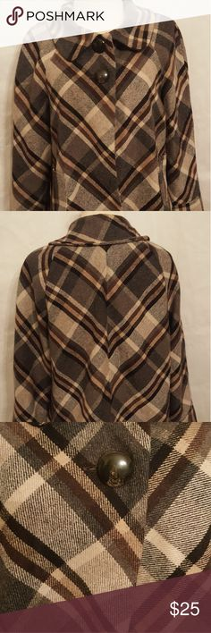 """Adorable 2 Button Jacket EUC! Brown Plaid Wool Blend Pullover. Measures: 20.5"""" Long x 25"""" Sleeve x 40"""" Bust Apostrophe Jackets & Coats Capes"""