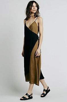 NEW Free People black & gold Crepe Color Block Wrap Side Tie Midi Dress XS #FreePeople #midiwrapdress