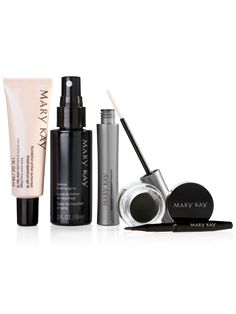 When you glam up for the holidays, you want a look that dazzles as long as you do! Start with a primer, finish with a spritz and keep that smokin' hot look for hours and hours. Set includes: Mary Kay® Foundation Primer Sunscreen Broad Spectrum SPF 15* Mary Kay® Gel Eyeliner With Expandable Brush Applicator in Jet Black Mary Kay® Lash Love® Waterproof Mascara in I ♥ black Mary Kay® Makeup Finishing Spray by Skindinävia *Over-the-counter drug product