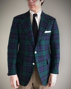 2fe65083e54 Tommy-Hilfiger-Tartan-Plaid-Blazer-Navy-Blue-Green-Blackwatch-Wool-Jacket-sz-43