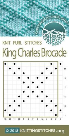 King Charles Brocade Knitting Stitch Patterns - King Charles B. - blacklake - King Charles Brocade Knitting Stitch Patterns – King Charles B… King Charles Brocade Knitting Stitch Patterns – King Charles Brocade Chart. Knit Purl Stitches, Knitting Stiches, Knitting Charts, Loom Knitting, Knitting Patterns Free, Knit Patterns, Free Knitting, Baby Knitting, Stitch Patterns