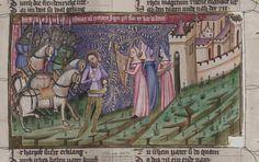 14th century headdress / veil ( manuscript : WLB Cod.bibl.fol.5 Weltchronik, folio 106v, 1383, Germany )