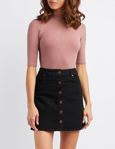 Soft ribbed fabric with a hint of stretch forms a three quarter sleeve top with a chic mock neck. Cute Casual Outfits, Outfits For Teens, Casual Dresses, Black Skirt Outfits, Dress Outfits, Girl Fashion, Fashion Outfits, School Looks, Cute Skirts