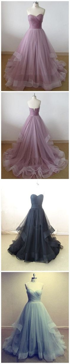 Lilac Sweetheart A-line Cheap Party Evening Long Organza Prom Dresses Prom Dress by DestinyDress, $225.00 USD