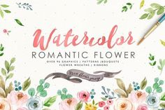 Watercolor Romantic Flower by Graphic Box on @creativemarket