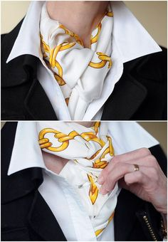 Square scarf under white shirt - nice way to tie it and pin in place.