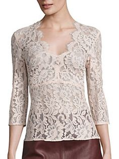 Designer Clothes, Shoes & Bags for Women Blouse Col V, V Neck Blouse, Pink Lace Tops, Floral Tops, Floral Lace, Silk Chiffon Fabric, Saree Gown, Mothers Dresses, Fashion Outfits
