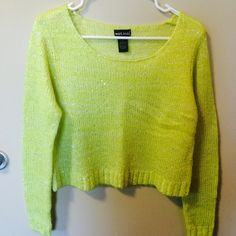 Neon yellow sweatshirt with sequin detail Super cute cropped sweatshirt with sequin detail on front and sleeves. Never worn before. Wet Seal Sweaters Crew & Scoop Necks