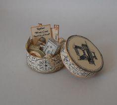 Dollhouse Miniature Vintage Style Sewing Box No6 Printed Kit Haberdashery | eBay