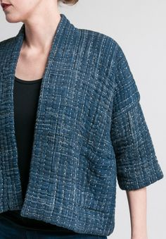 Sewing Blusas Raga Designs Cotton Kantha Bonita Jacket in Indigo - Quilted Clothes, Sewing Clothes, Diy Clothes, Clothes For Women, Dress Sewing, Sashiko Embroidery, Japanese Embroidery, Flower Embroidery, Embroidered Flowers